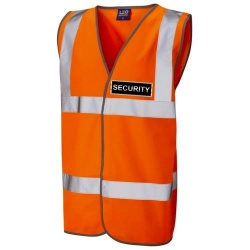 Security Black Hi Vis Waistcoat Orange